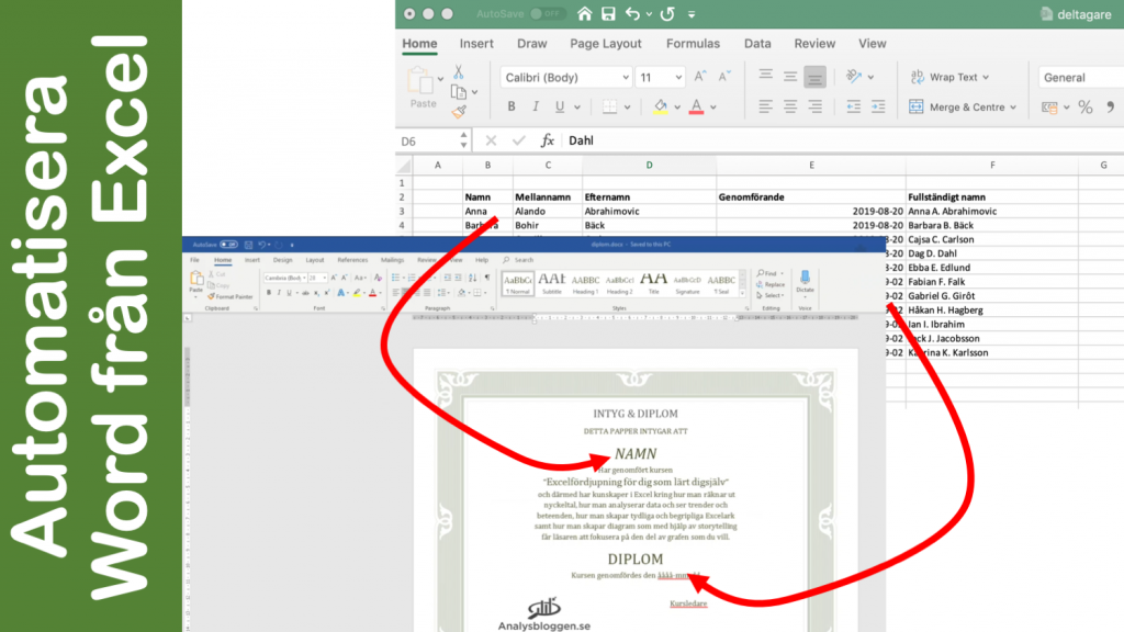 Mail merge i Word hämtar data i Excel och skapar word-dokument